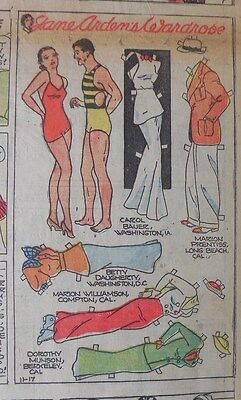 Jane Arden Sunday with Large Uncut Paper Doll from 11/17/1935 Full Size Page!