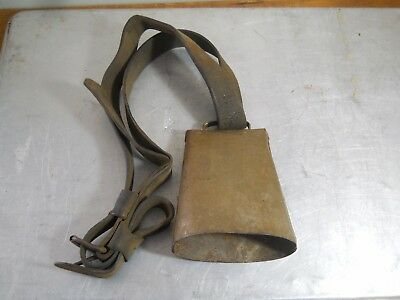 Antique Vintage Metal Large Cowbell With Leather Strap