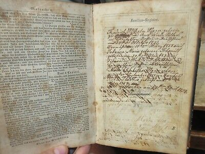 1853 Antique Old GERMAN Holy Bible WAGNER SCHMIDT Family Mansfield Ohio w/ Names
