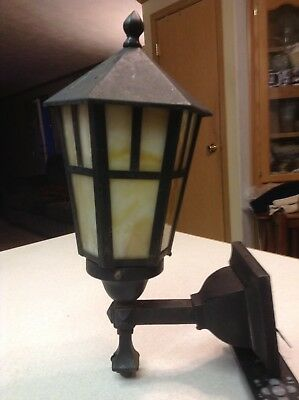 Antique Vintage Arts Crafts Porch Sconce Cast Iron Fixture Slag Shade NICE