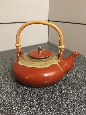 Pottery Tea Pot with A Brown Glaze And Bamboo Handle Good Condition