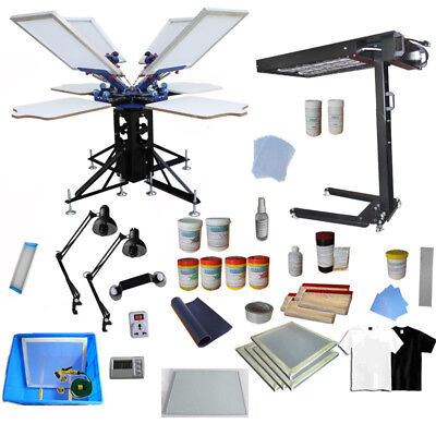 4 Color 4 Station Silk Screen Printing Kit Flash Dryer & Simple Exposure Unit