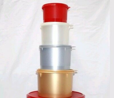 New! Tupperware 4 piece STACKING CANISTER SET gold, silver, white, red