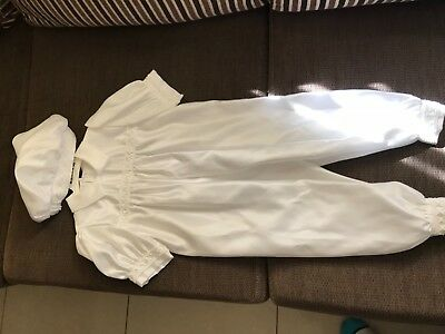 Boys christening jumpsuit with hat