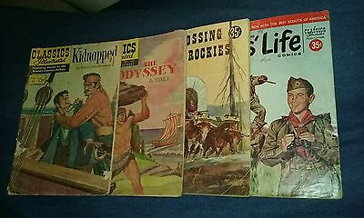 classics illustrated comic lot kidnapped the odyssey crossing rockies boy scouts