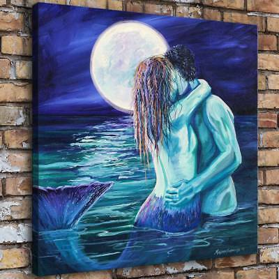 Mermaid Kissing Naked Man Home Decor HD Canvas Print Picture Wall Art Painting