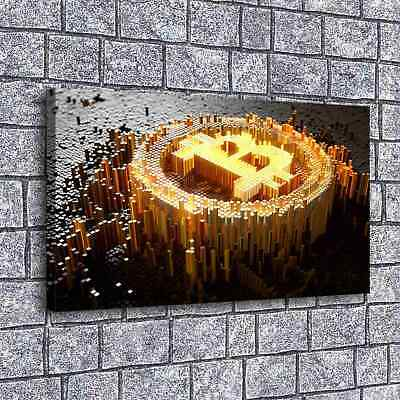 Bitcoin Poster Golden Home Decor Room HD Canvas Print Picture Wall Art Painting
