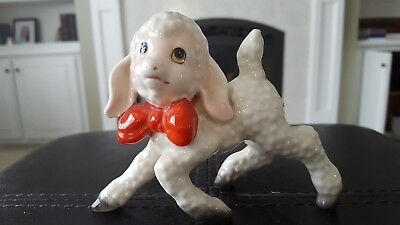 Vintage Porcelain Lamb Made In Japan Red Bow - Great Shape!