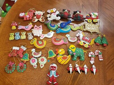 40 Stuffed Felt Sequined Christmas Ornaments Vintage