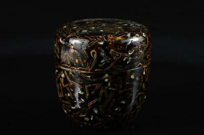 G2374: Japanese Wooden Wakasa lacquer ware TEA CADDY Natsume Chaire Container