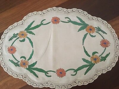 Vintage embroidered linen rayon centrepiece doily - beautiful chrysanthemums
