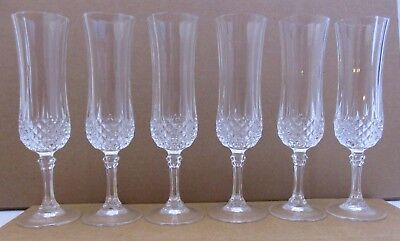"Cristal d'Arques Durand- 6 pc Crystal Longchamp 5 oz Champagne glass - 8"" (44H)"