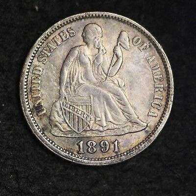 1891 Seated Liberty Dime CHOICE AU FREE SHIPPING E232 AHB
