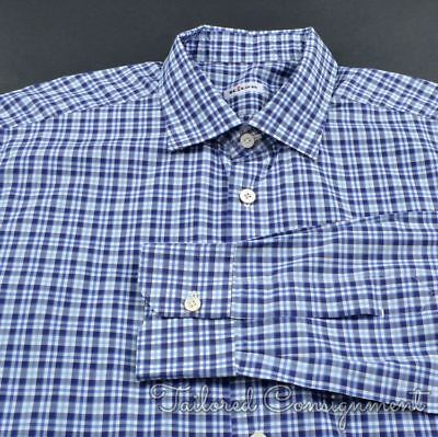 3be2a5b485 KITON BLUE PLAID Check 100% Cotton Mens Luxury Dress Shirt - 16.5 ...