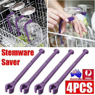 4-32Pcs Purple Quirky Tether Stemware Saver Flexible Dishwasher Attachment SET
