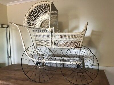 Antique Early Victorian Wicker Cane Pram- Fully Restored