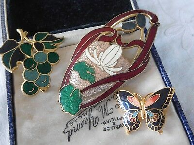 Three Lovely Vintage 1950s/60s Colourful Enamel Brooches Fish etc