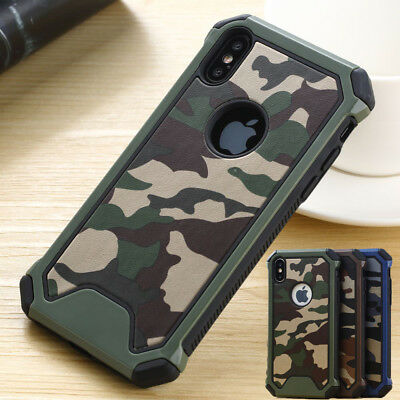 Camouflage Armor Case For iPhone XS XR 6s 8 7 Tough Hybrid Heavy Duty Back Cover