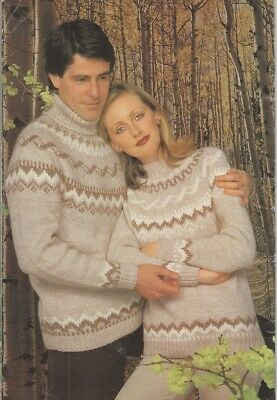 Ladies Men S Knitting Pattern Copy Cabled Jumpers 8 Ply Large
