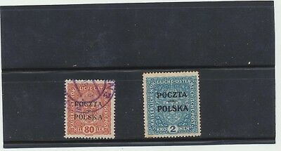 Poland 1918 Austrian Military overprinted #50 80h and #52 2k