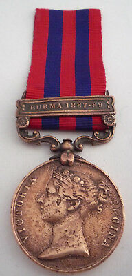 India General Service Medal In Bronze With Burma 1887-89 Clasp Erased