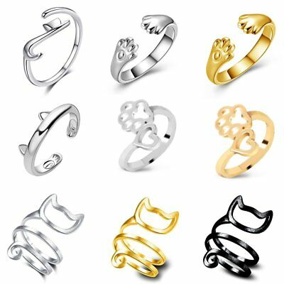 Fashion Adjust Dog/Cat Paw Footprint Rings Cute Jewelry Women Girl Party Gift