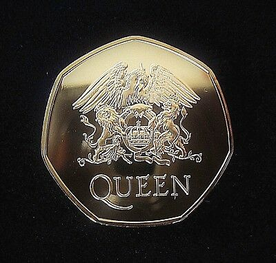 QUEEN : Limited Edition GOLD Commemorative 50p Pence Coin Freddie Mercury
