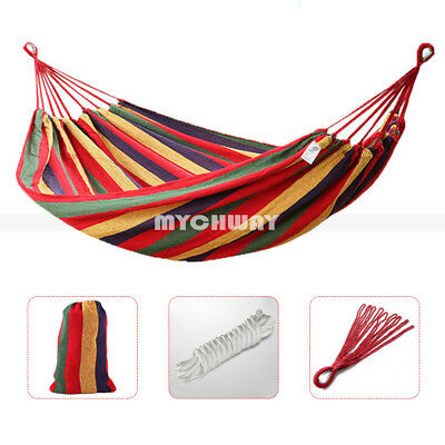 Double Portable Parachute Nylon Fabric Hammock Hanging Bed Sleep Swing Outdoor