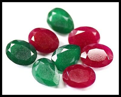 Natural 74 Ct Ruby And Emerald Fine Cut Loose Gemstone 8 Pieces Lot