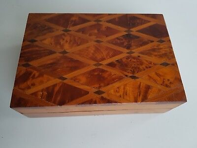 Antique/vintage Inlaid Marquetry Hinged Wooden  Box