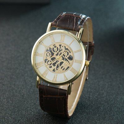 Automatic Trendy Men Male Leather Strap Mechanical Wrist Watch Big Round Dial JG