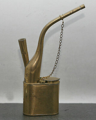 Vintage Chinese Solid Brass Water Smoking Pipe Nicely Engraved Circa 1940s