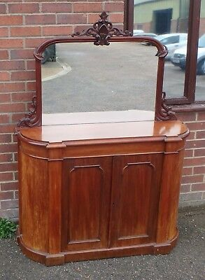 Victorian antique solid carved Cuban mahogany mirror chiffonier buffet sideboard