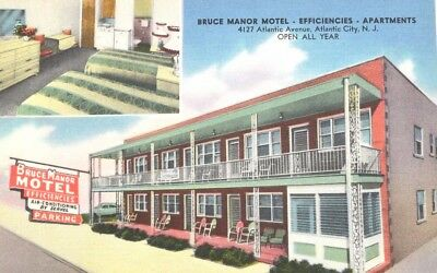 Bruce Manner Motel & Hotel Efficiencies Atlantic City NJ 1950s postcard