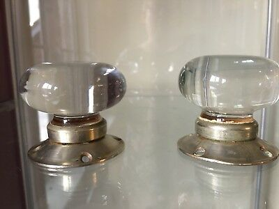 Vintage Glass Door Handles - 1 Pair