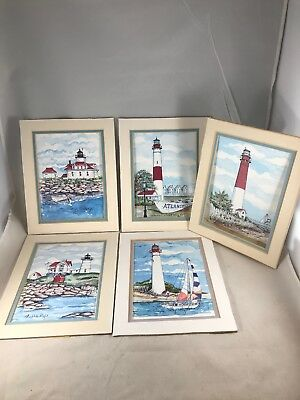 Set Of 5 Donna Elias Great American Lighthouses