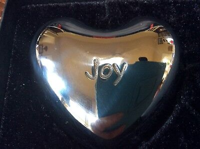 "Brighton Silver JOY Puffy Heart Chime 2-3/4"" NIB"