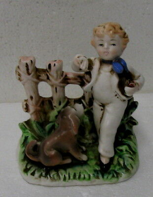 Vintage 1950's COUNTRY BOY with DOG FIGURINE  Arnart  Japan # S8451