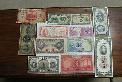 China mixed Banknotes (Republic, JPS, Taiwan, PRC), 12 notes 1914-1980,