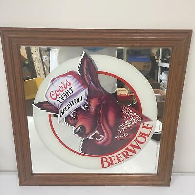 Coors Light 1986 Adolph Coors Company Beer Wolf Mirror Beer Sign