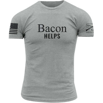 Grunt Style Bacon Helps Crewneck T-Shirt - Heather Gray