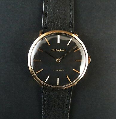 Vintage Swiss Made 17 Jewel Gold filled 'Old England' Gents Wrist Watch. Working