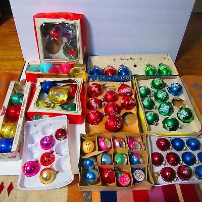 Large Mixed Lot Of Vintage Glass Christmas Ornaments Plastic Bell Ornaments