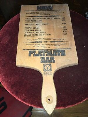 Vintage Rare Wood 1970s Playboy Club Hotel Playmate Bar Menu Cutting Board Orig.