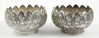 Antique Indian Lucknow Sterling Silver Jungle Shikar Animal Bowls/Dishes