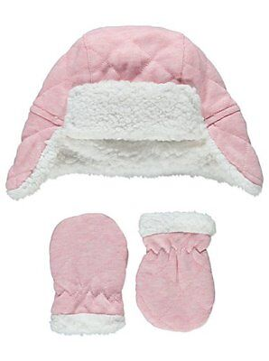 Gorgeous Soft & Warm Quilted Pink Trapper Hat & Mittens Set 0-6 Months Gift New