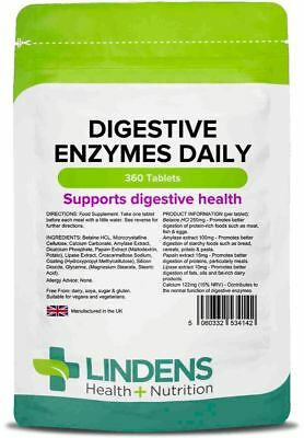 Digestive Enzymes Daily 360 Tablets Lindens Health + Nutrition (4142)