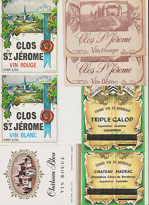 36 Wine Labels 1930's-50's European Rare Old Early Classic Antique Scarce c