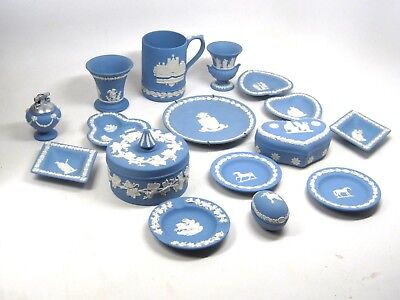 Vintage Lot of 16 Wedgwood Soft Blue Jasperware Handcrafted in England