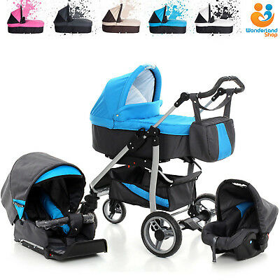 Baby Pram Buggy Pushchair 3in1 Newborn Car Seat Carrycot Travel System Stroller